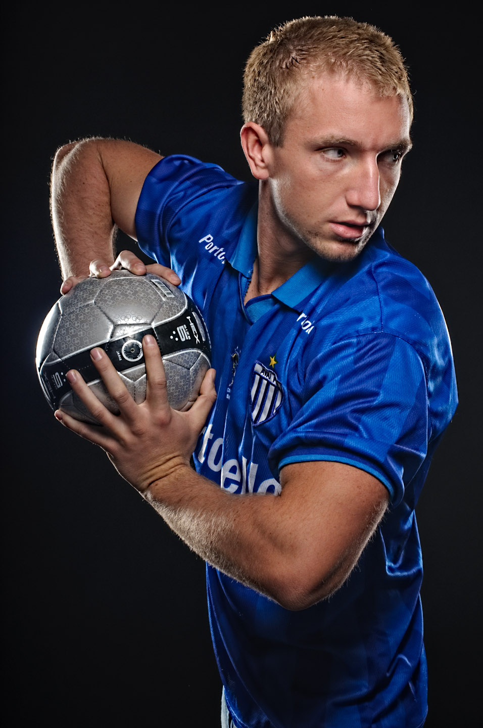 Zeb models in a soccer jersey and soccer ball