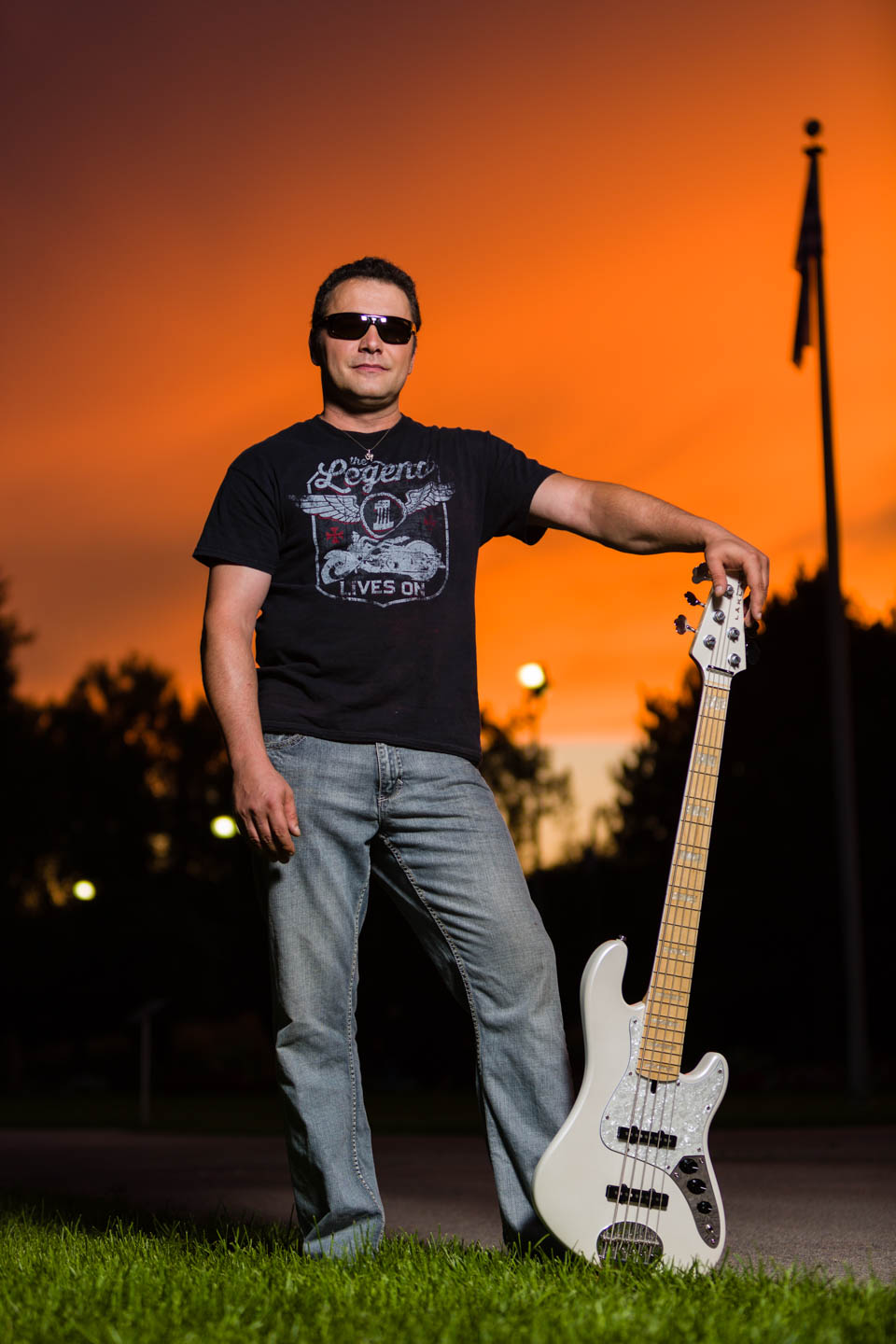 Sunset was perfect for some photographs with the bass guitar and sunglasses