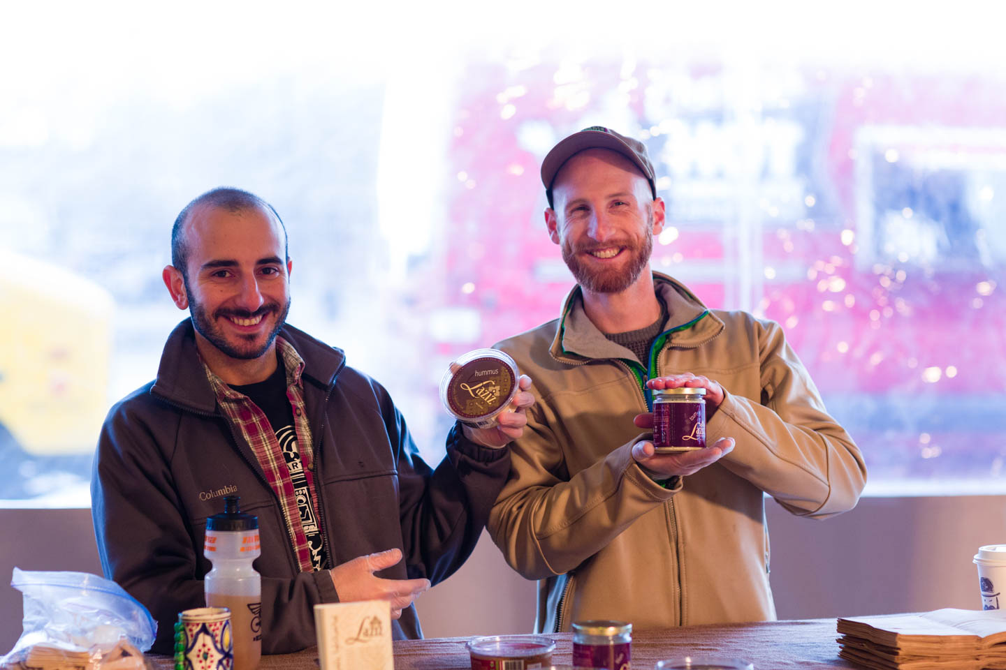 Derek and Moudi sell their Laziz wares at the Winter Salt Lake City Farmers Market