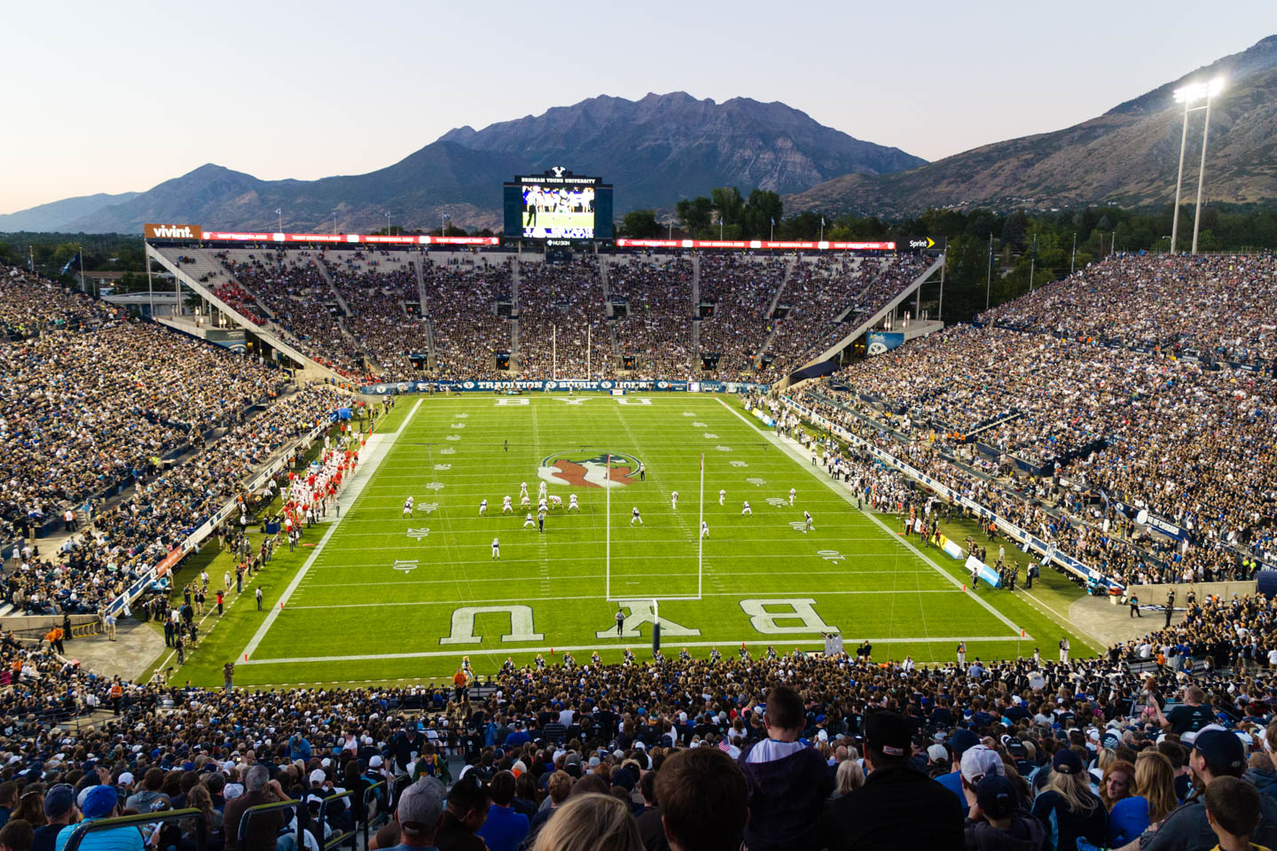 Dusk settles over BYU's Lavell Edwards Stadium