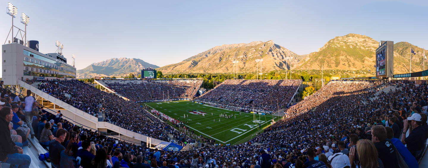 Panorama of BYU Lavell Edwards Stadium