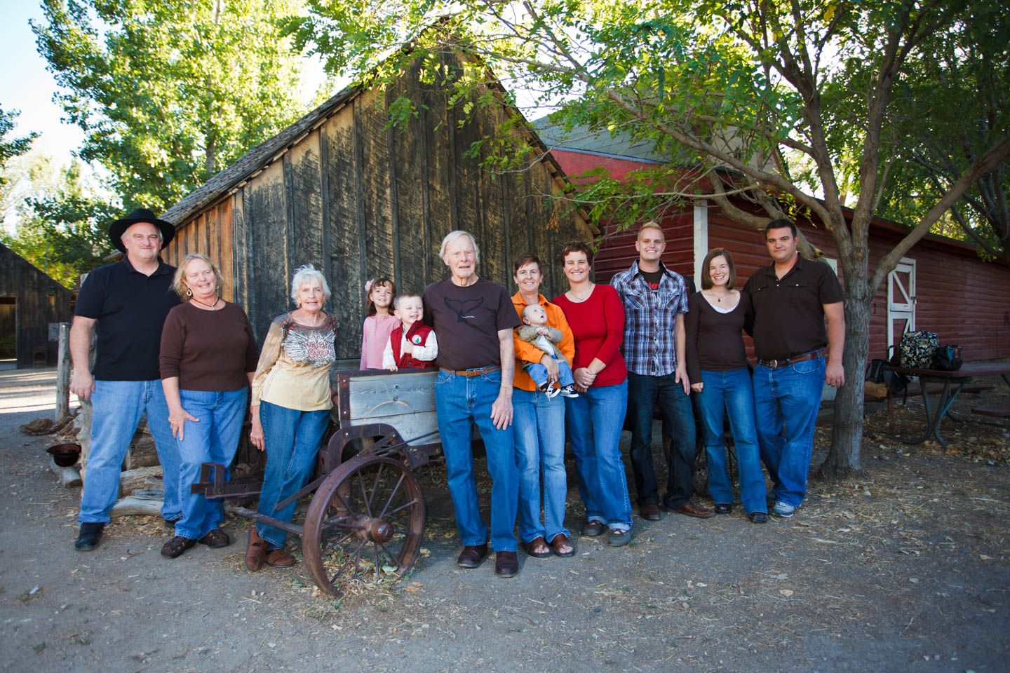 Family photography are different locations on the farm