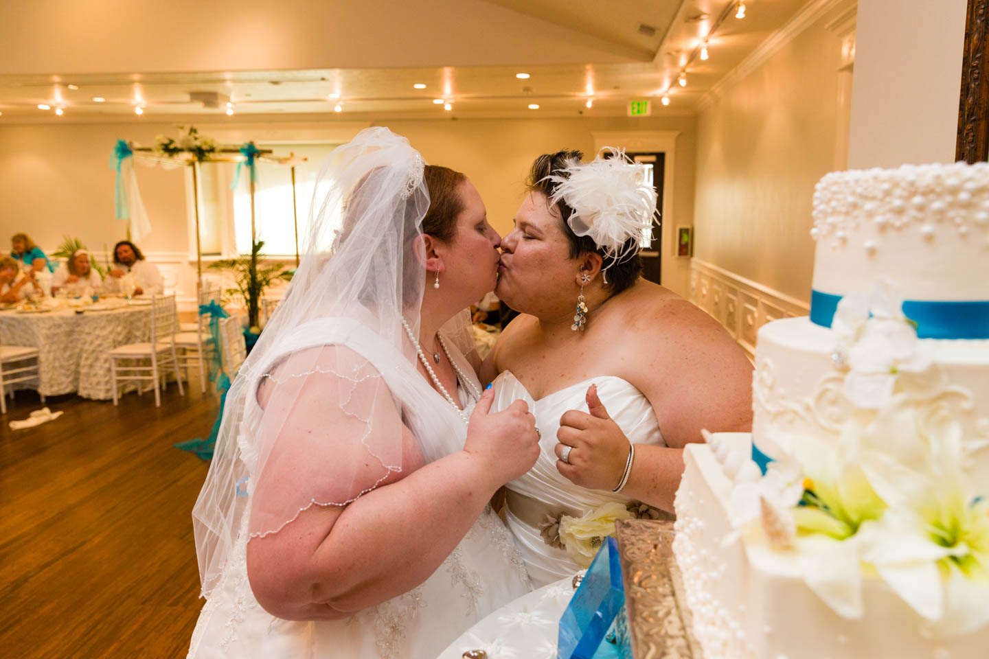 The kiss after cutting the wedding cake