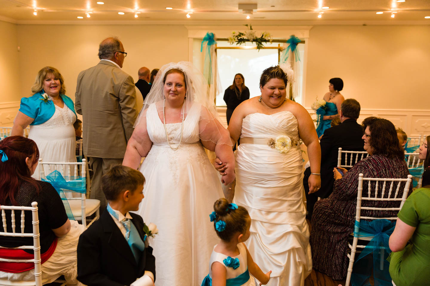 Brides walk down the aisle married