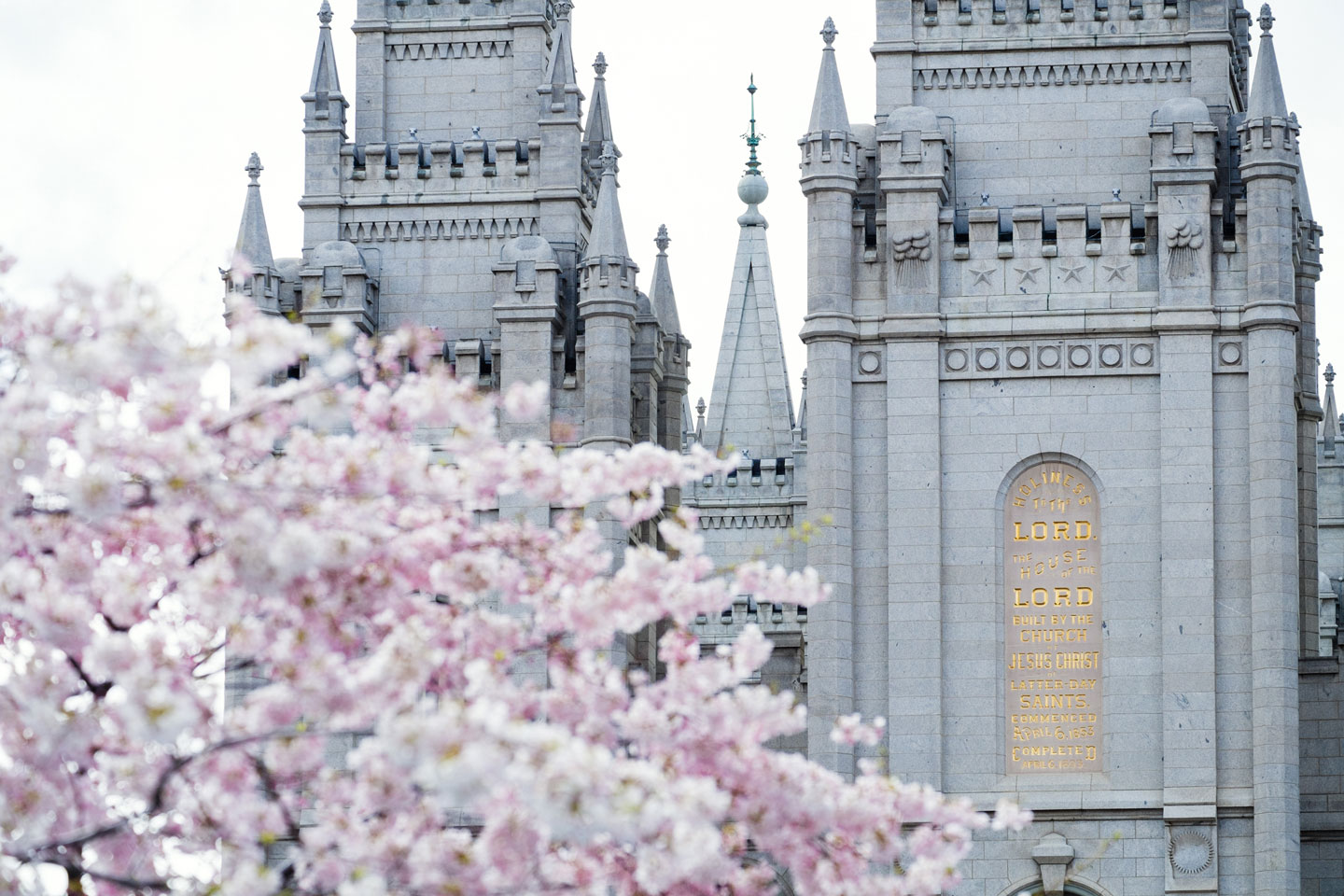 Spring blossoms surrounding Temple Square