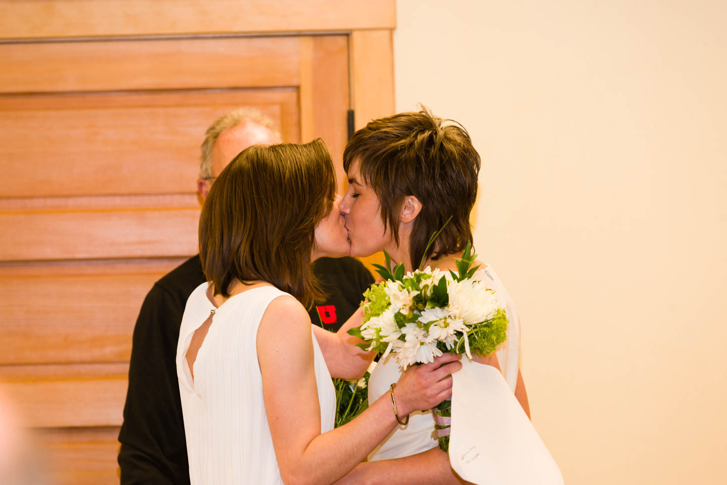 Bride's first kiss