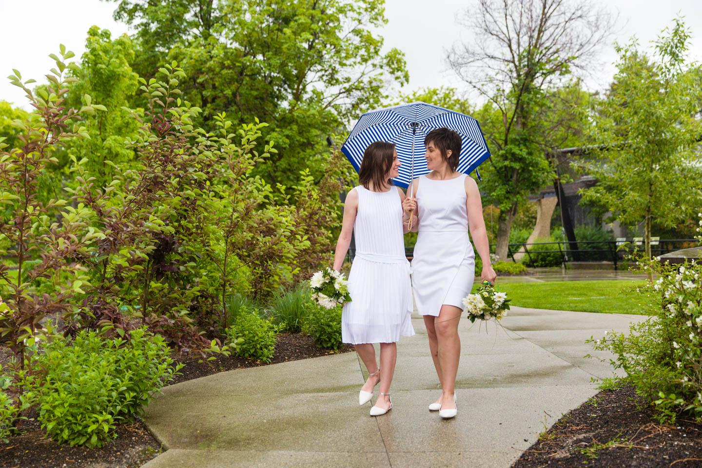 Brides walk in the rain at Tracy Aviary