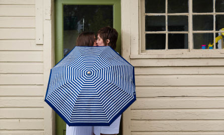 Getting creative with the wedding portraits. It was raining and we roll with it.
