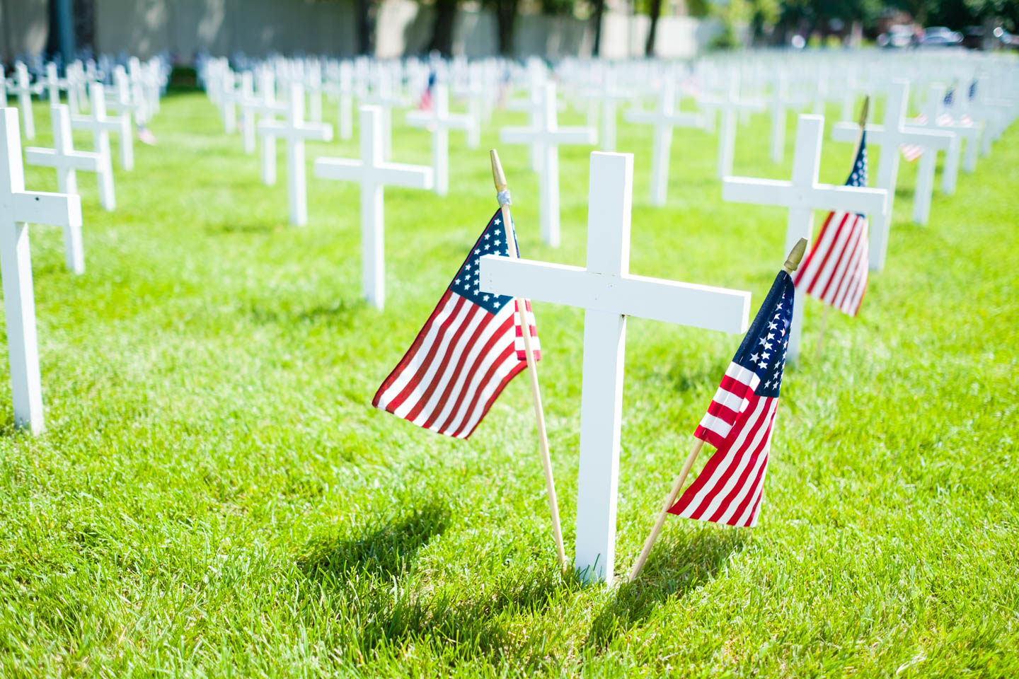 American Flags mark memorials