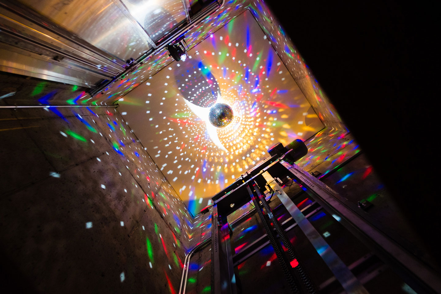 Disco ball in the elevator shaft
