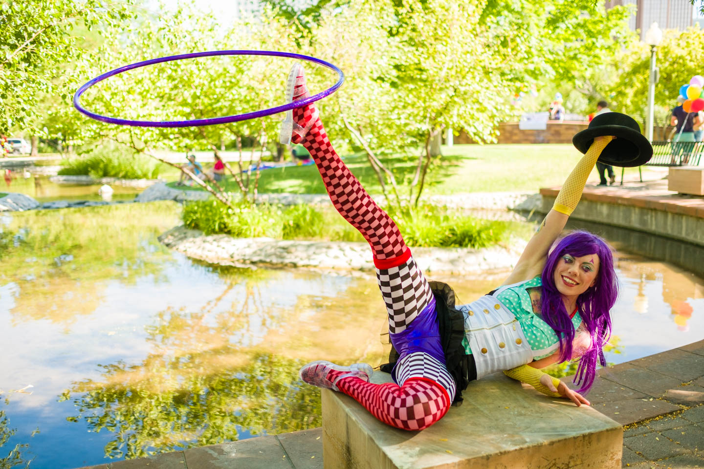 Hula hoop performer at City Creek Park