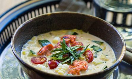 Salmon soup and food photography