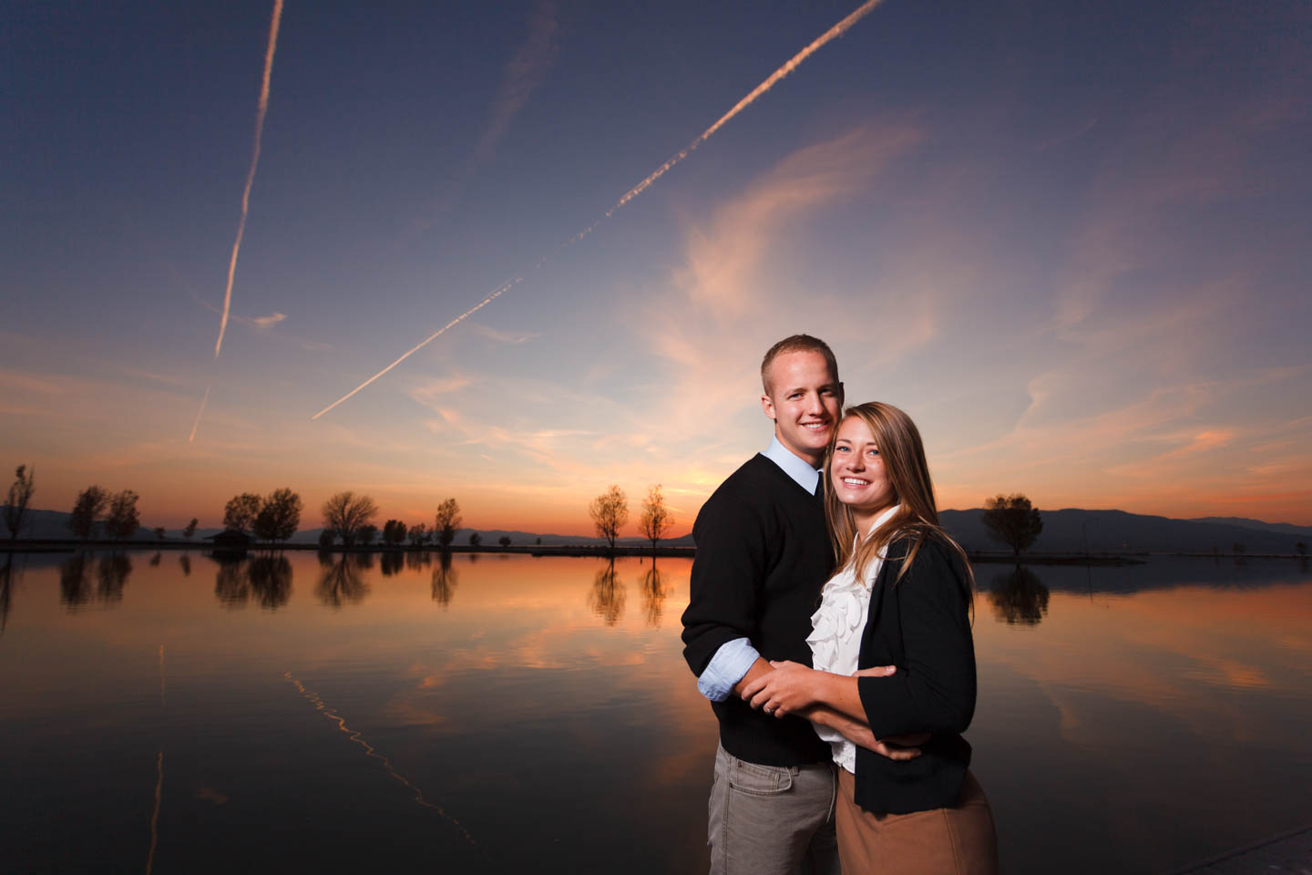 Sunset over Utah Lake creates perfect portraits