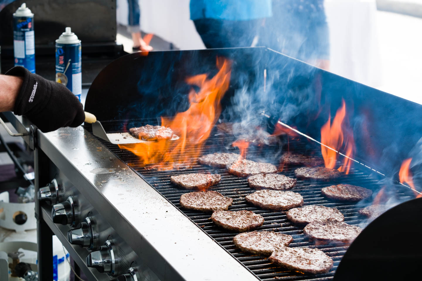 Grilled hamburgers for the volunteers