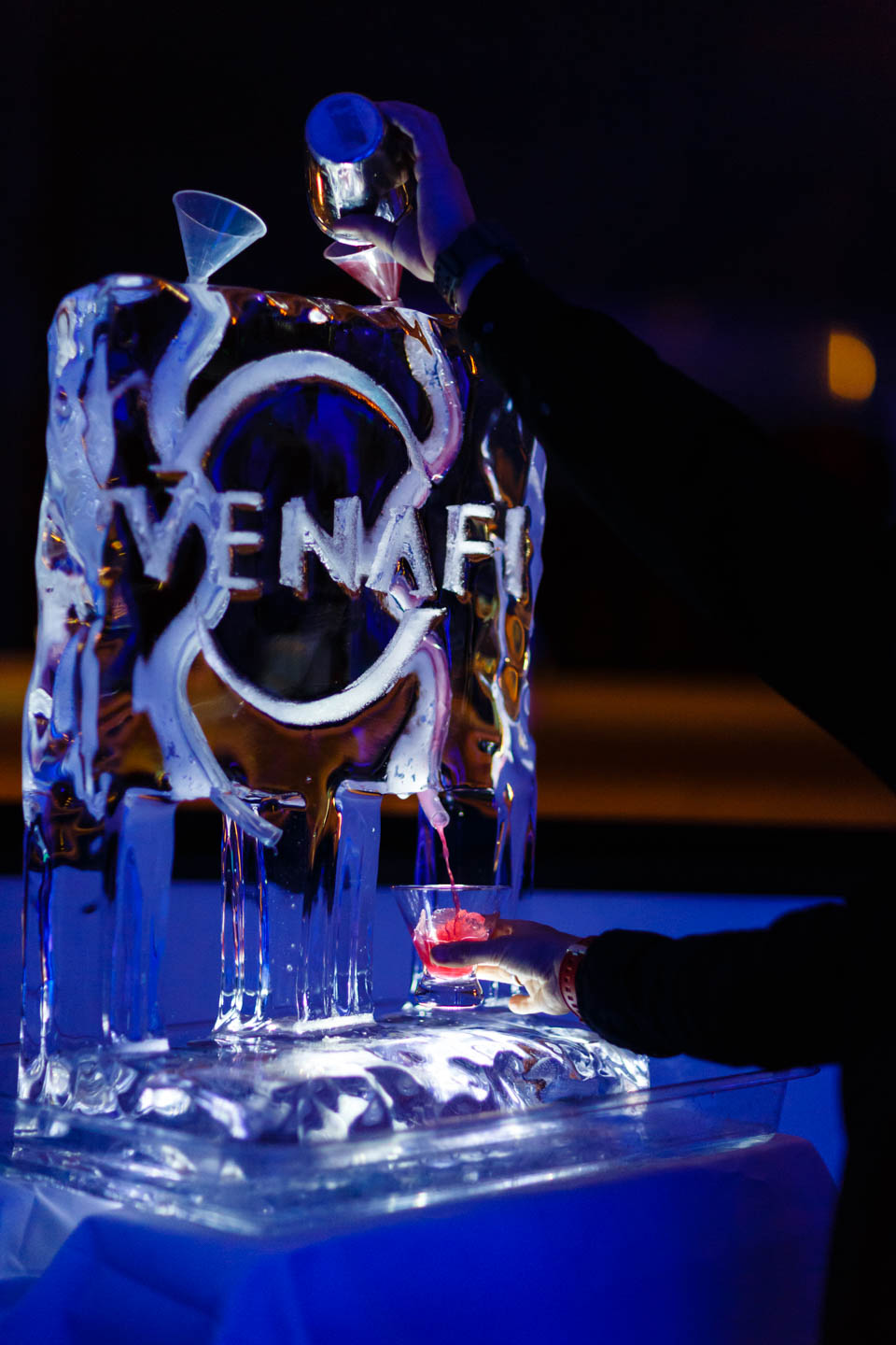 Ice sculpture dispenses alcohol