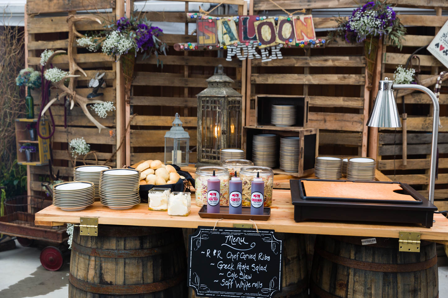 Saloon themed serving station at steampunk wedding