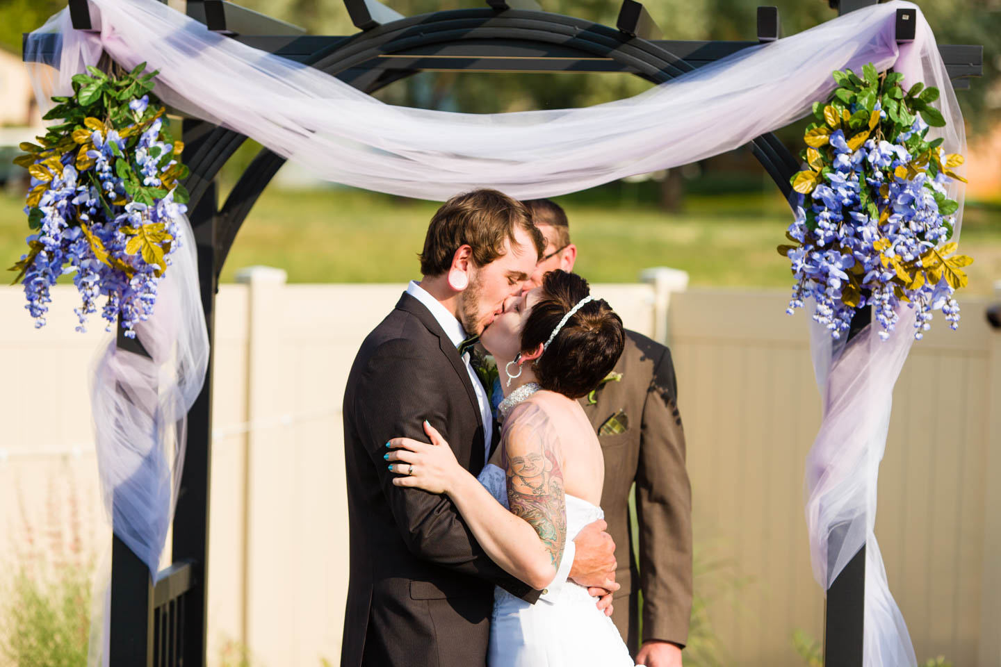 Wedding couple's first kiss
