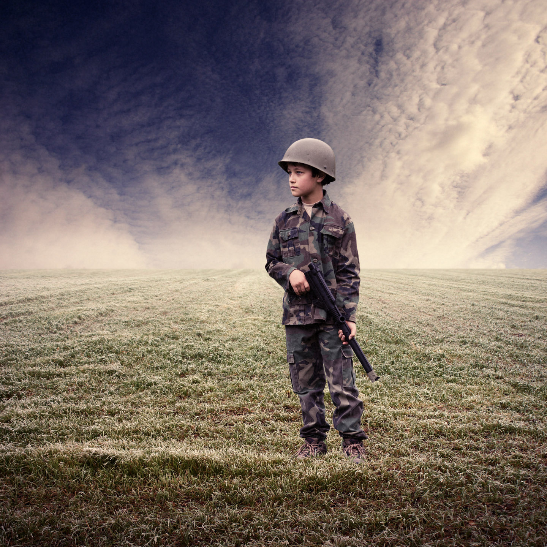 A World War One soldier added to an empty battle field