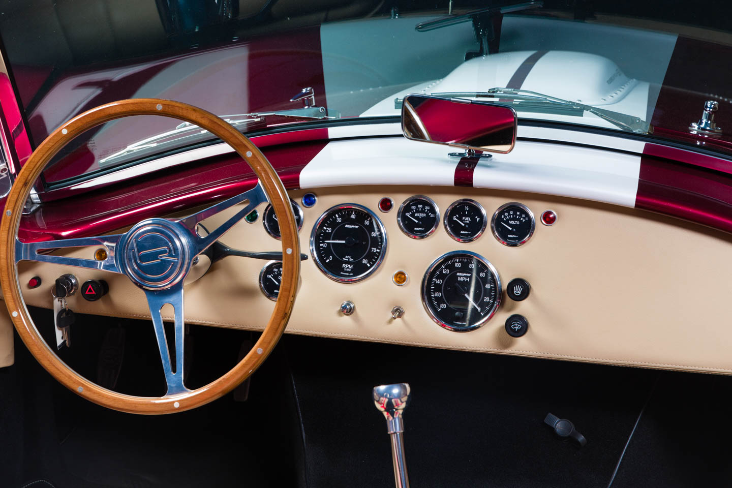 Interior of the candy red Shelby Cobra