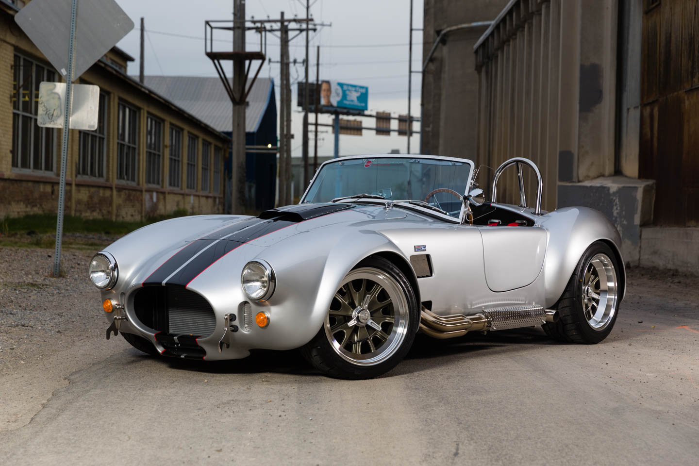 Silver Shelby Cobra replica based on the 1965 model