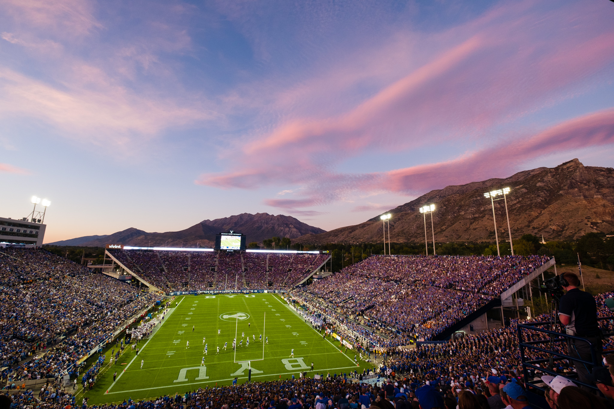 Sunset over Brigham Young University's Lavell Edwards Stadium
