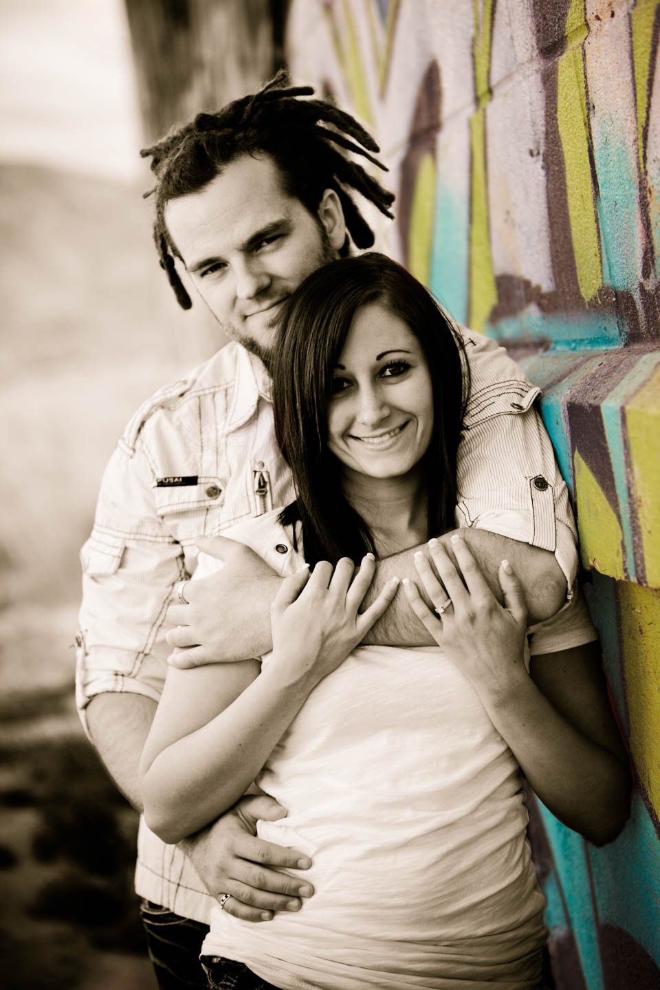 Engagement photos and graffiti