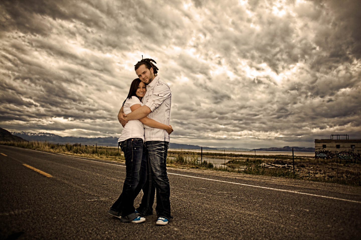 Engagement photos near the Great Salt Lake