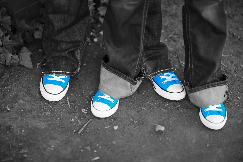 Matching blue Chuck Taylors