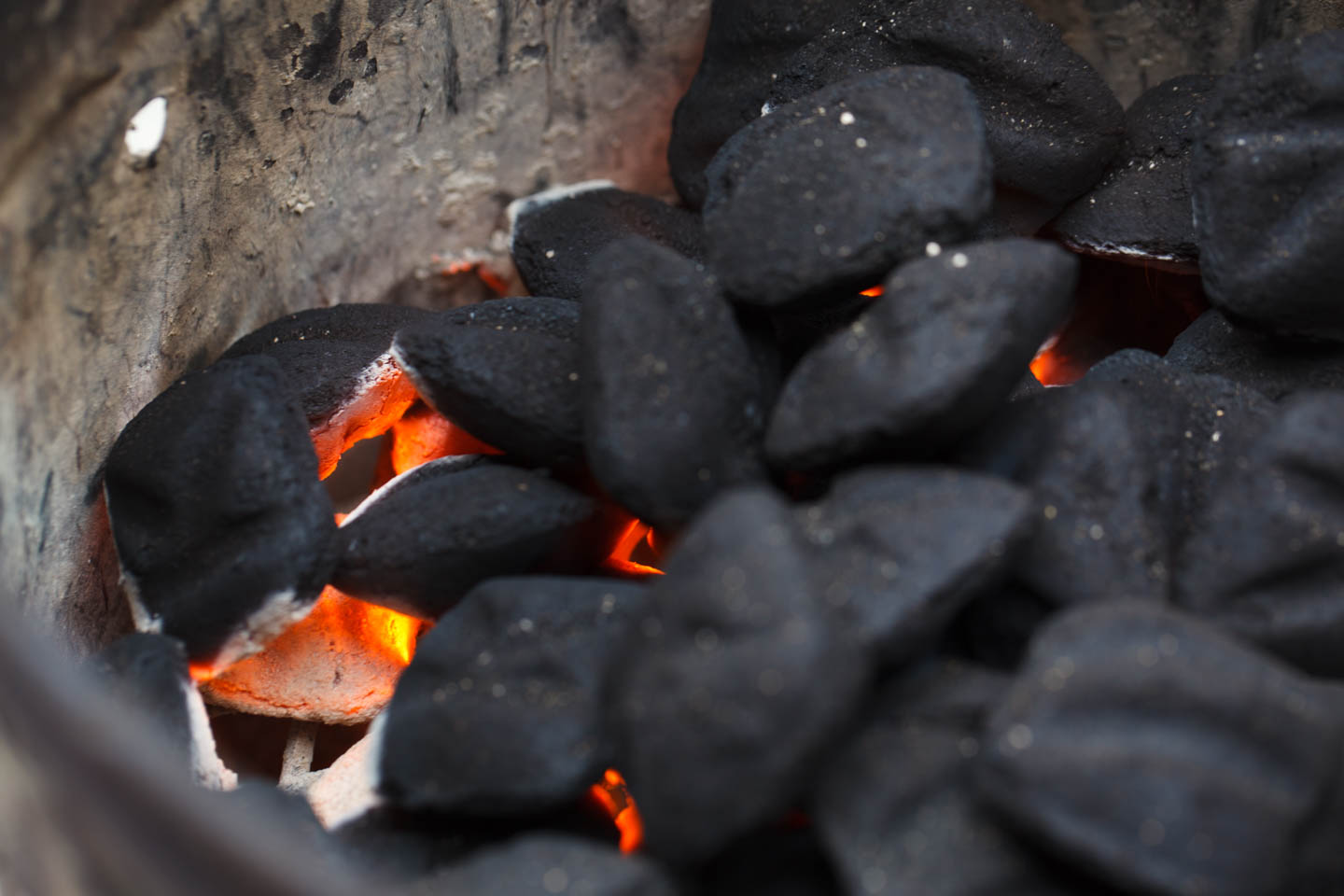 Hot coals for cooking