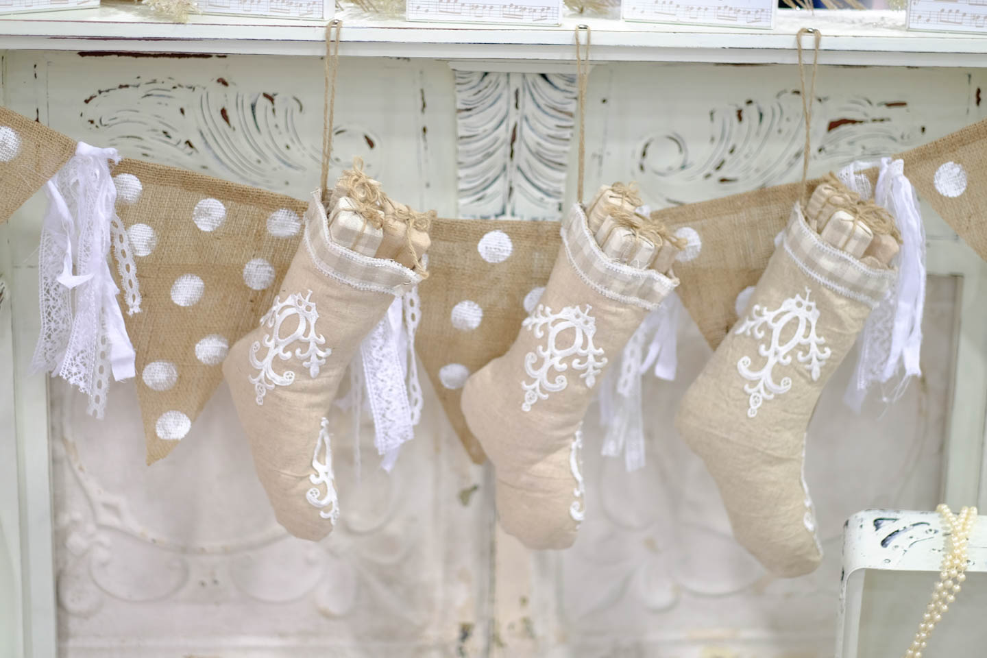 Ivory White Christmas Stockings