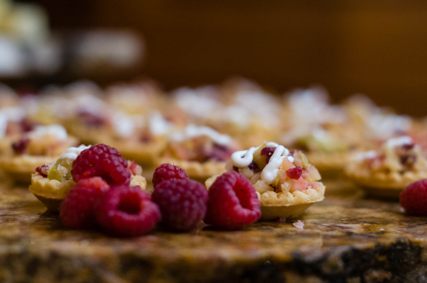 Raspberries and tarts