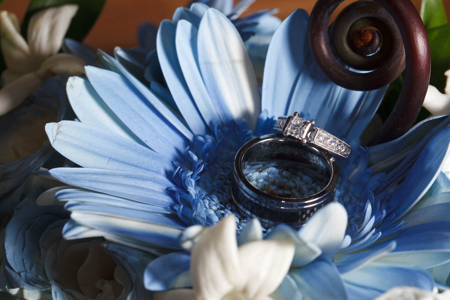 Wedding rings in a sea of flowers