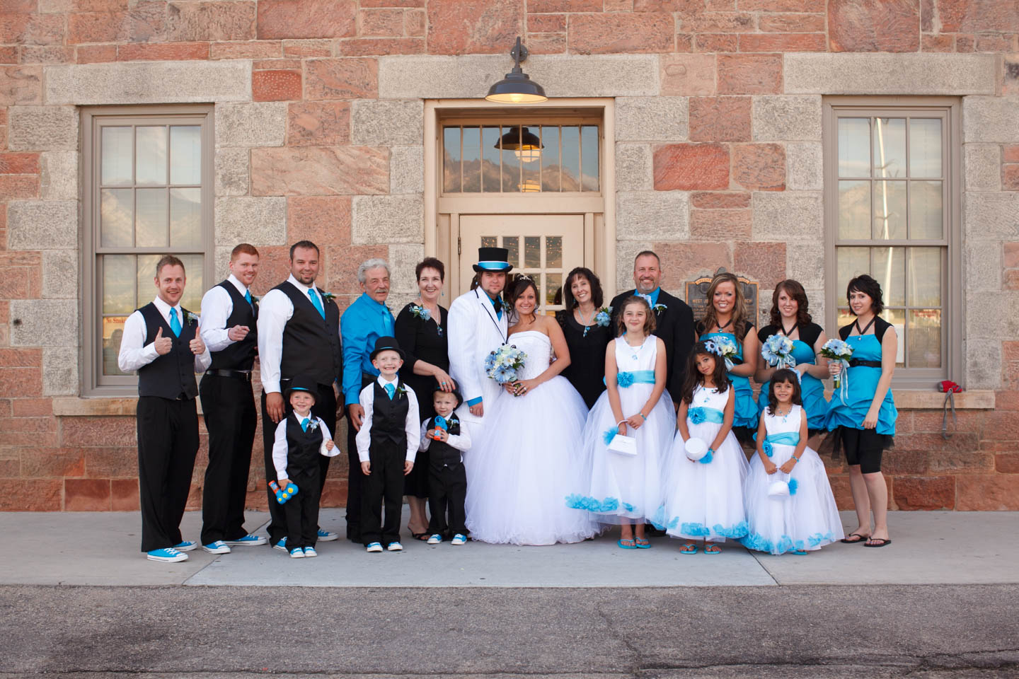 Wedding party outside the Pioneer Hall in South Jordan