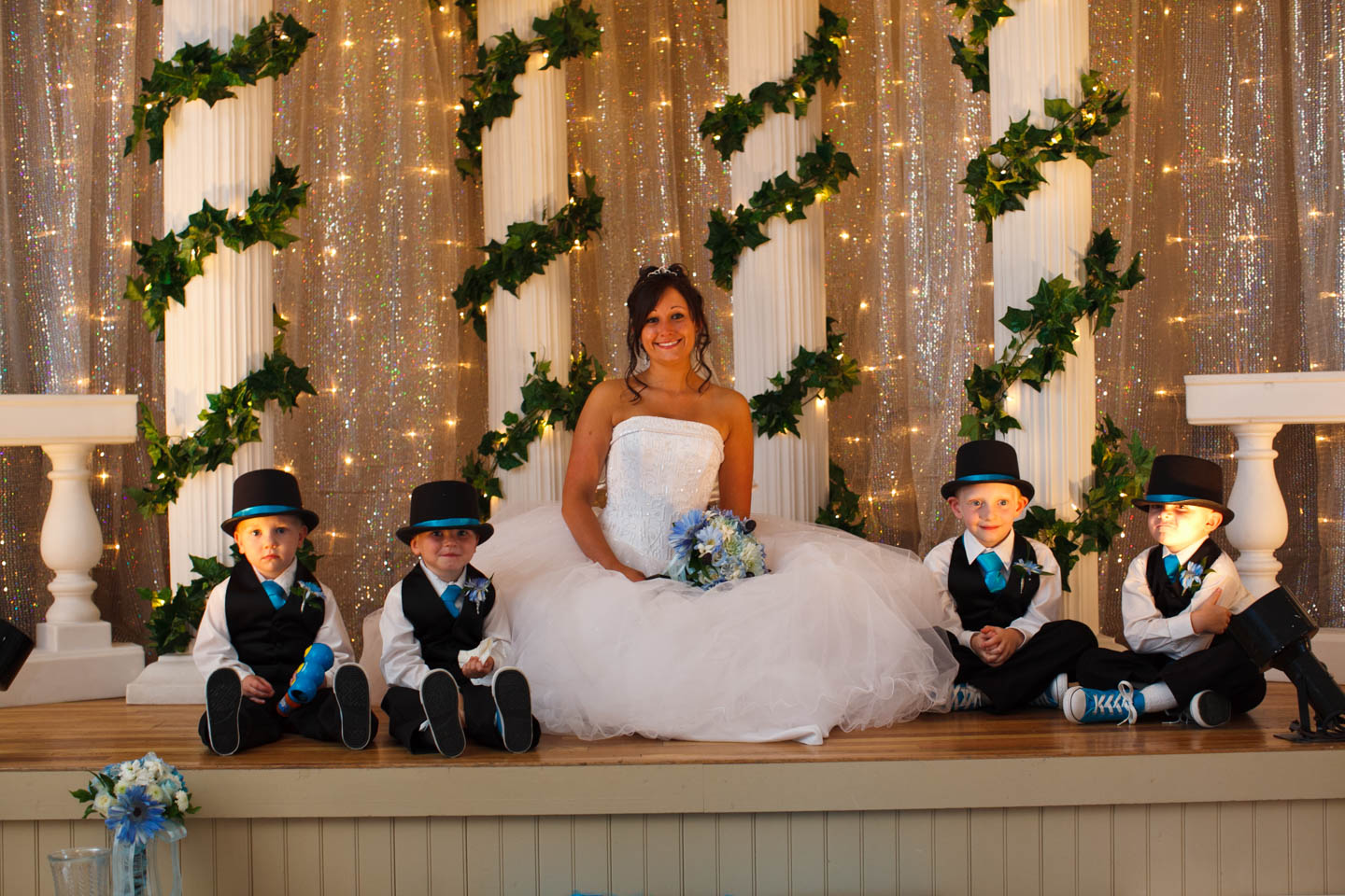 Bride with the little groomsmen