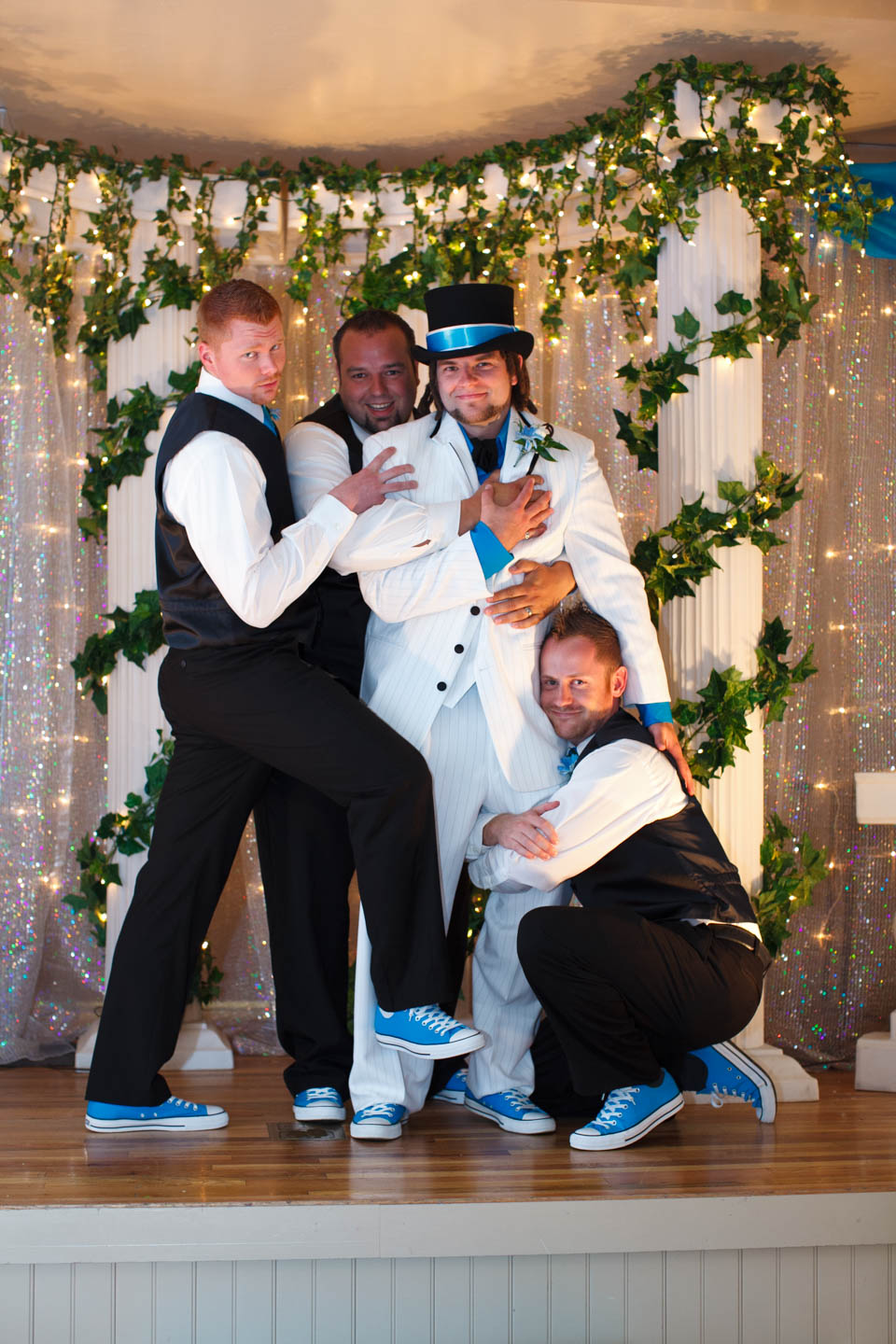 Stan is all cuddly with the groomsmen