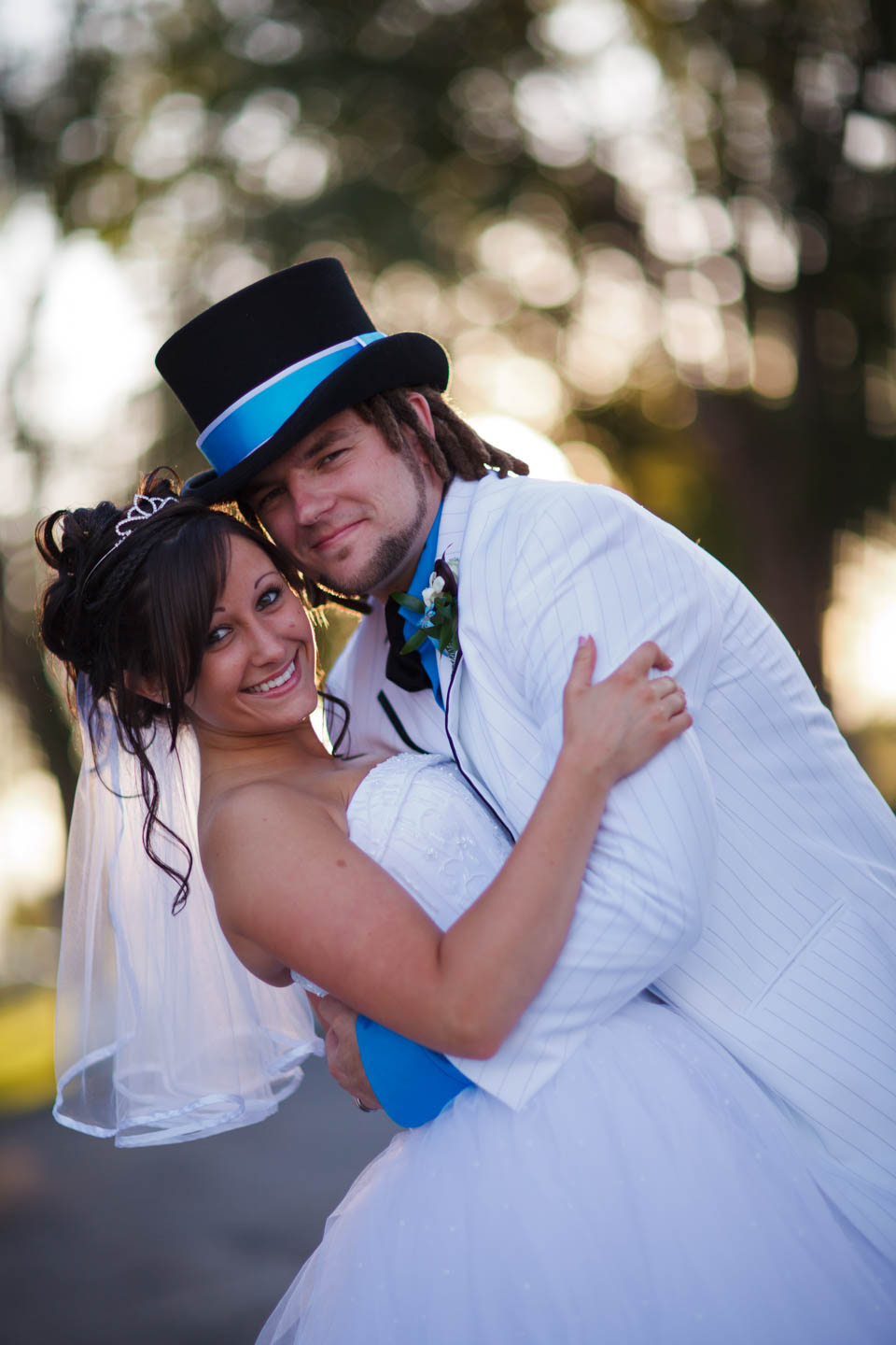 Formal bride and groom portraits during perfect light