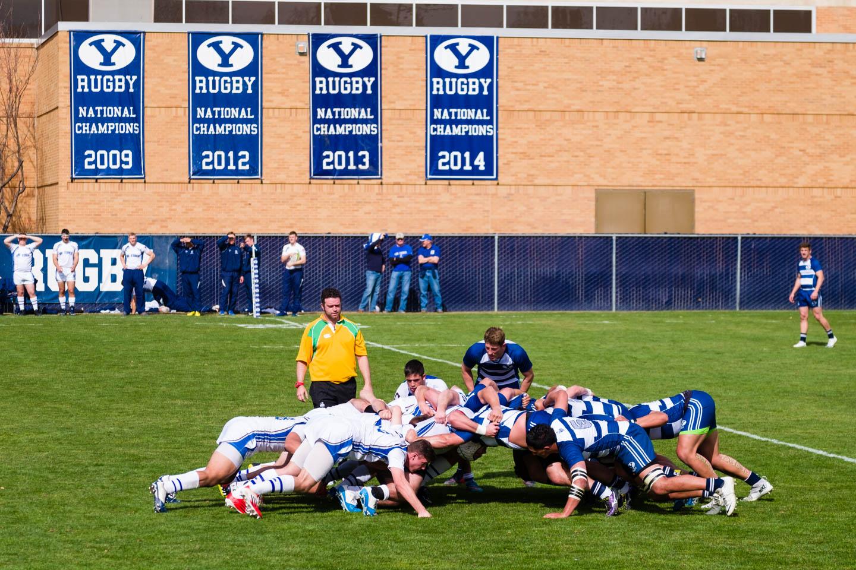 A rugby scrum