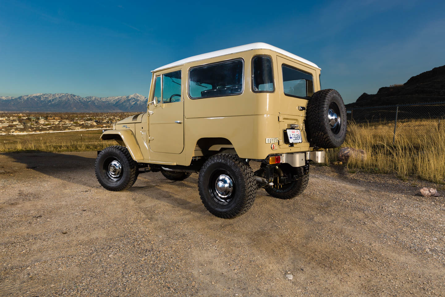Restored Toyota Land Cruiser in Quicksand paint