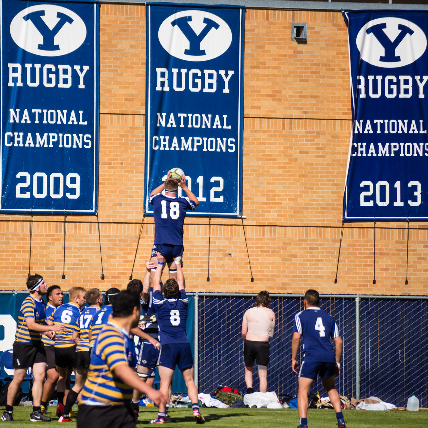 A line-out by all the BYU Championship banners