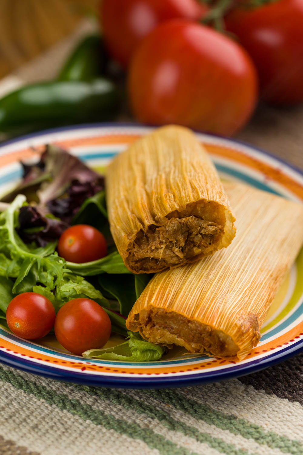 Beef tamales with salad