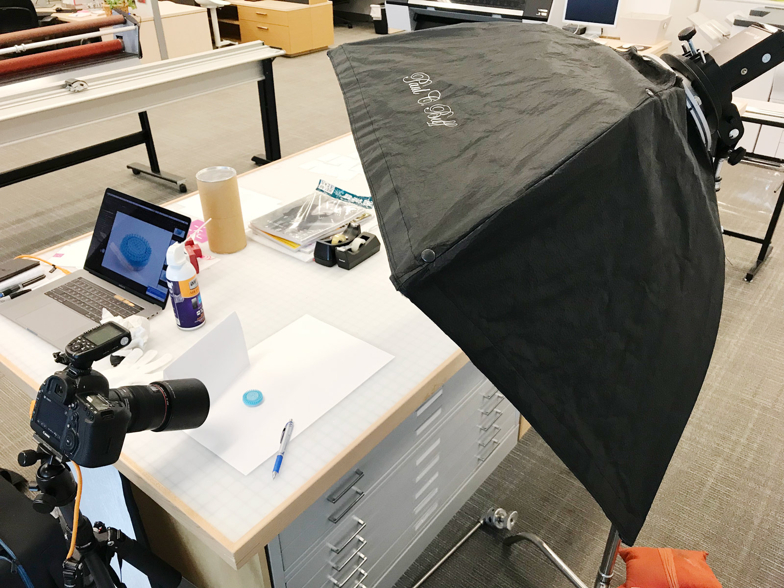 Behind the scenes of a product photo shoot