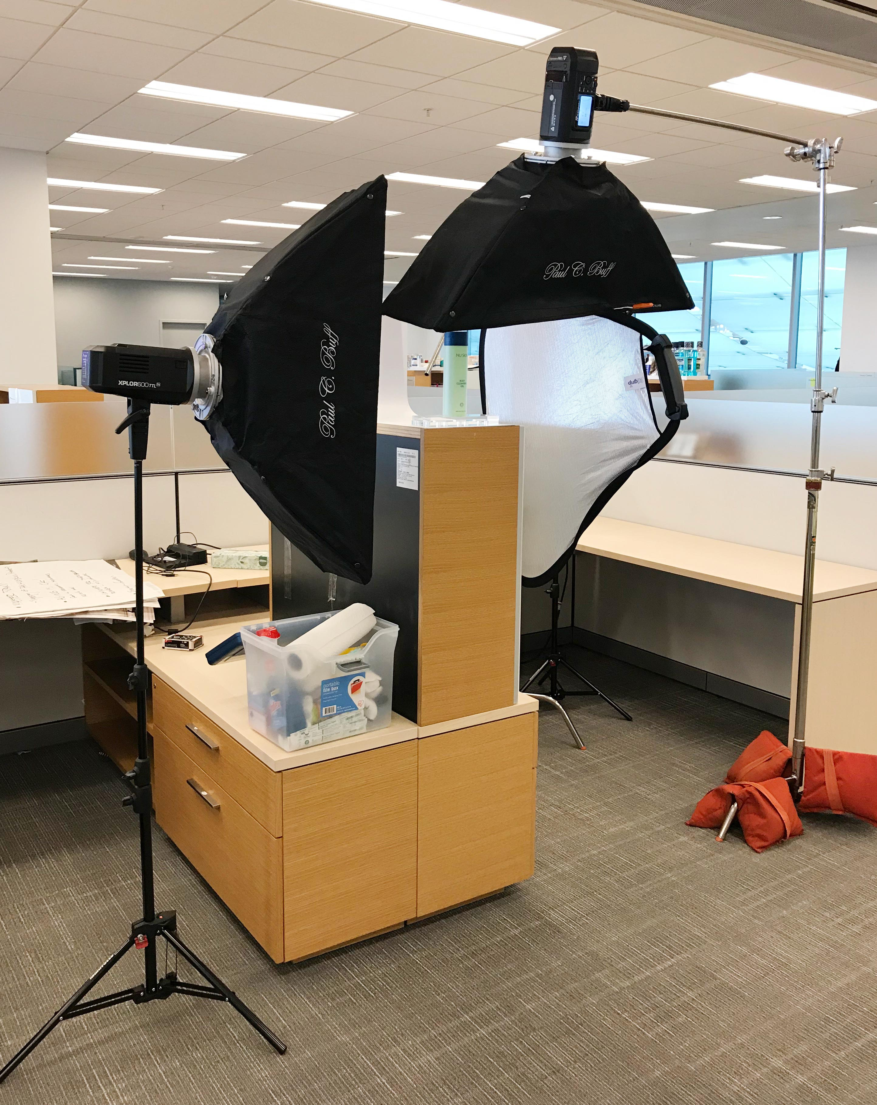 I went through several lighting setups with strip lights, reflectors, and umbrellas