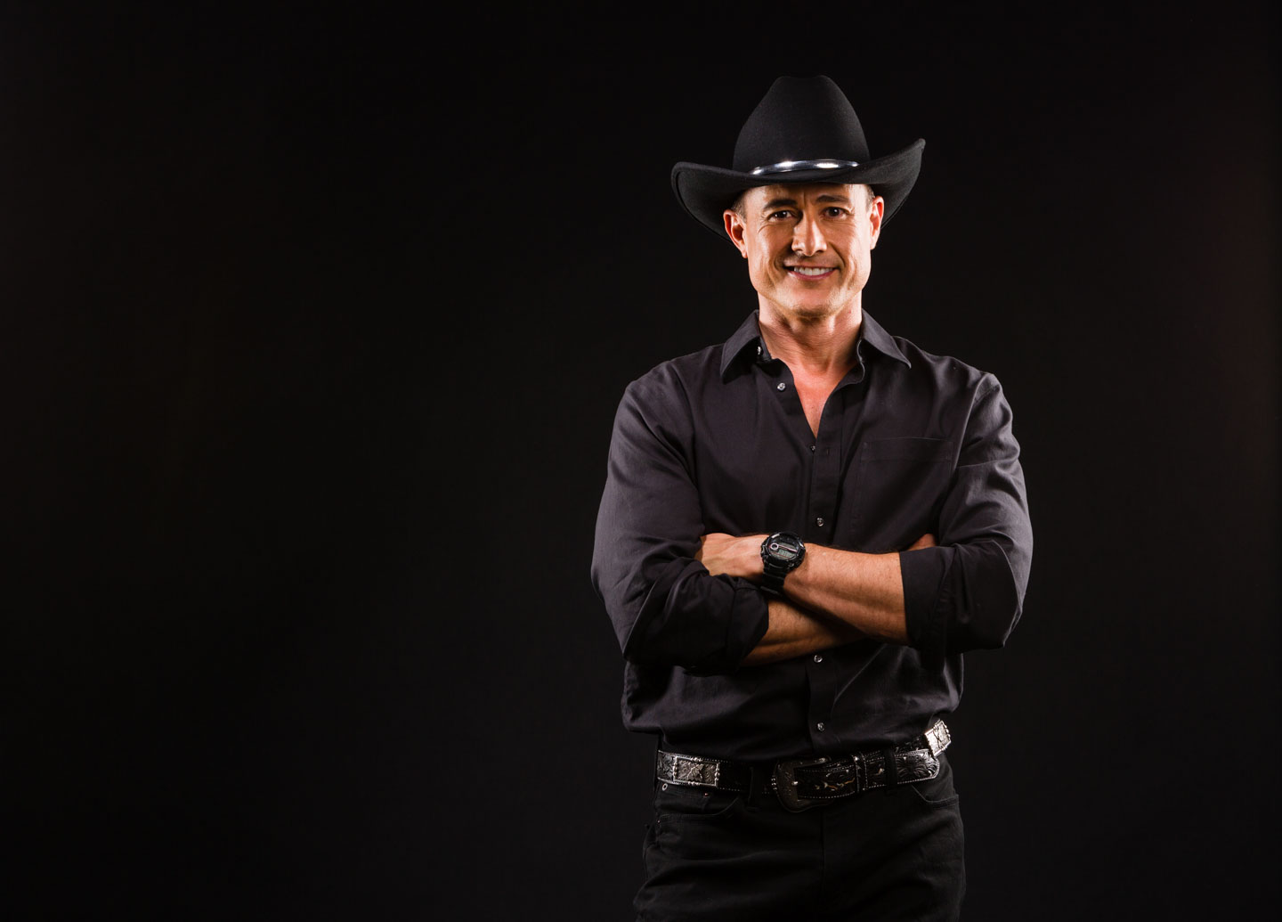 Steven Fales, cowboy in black