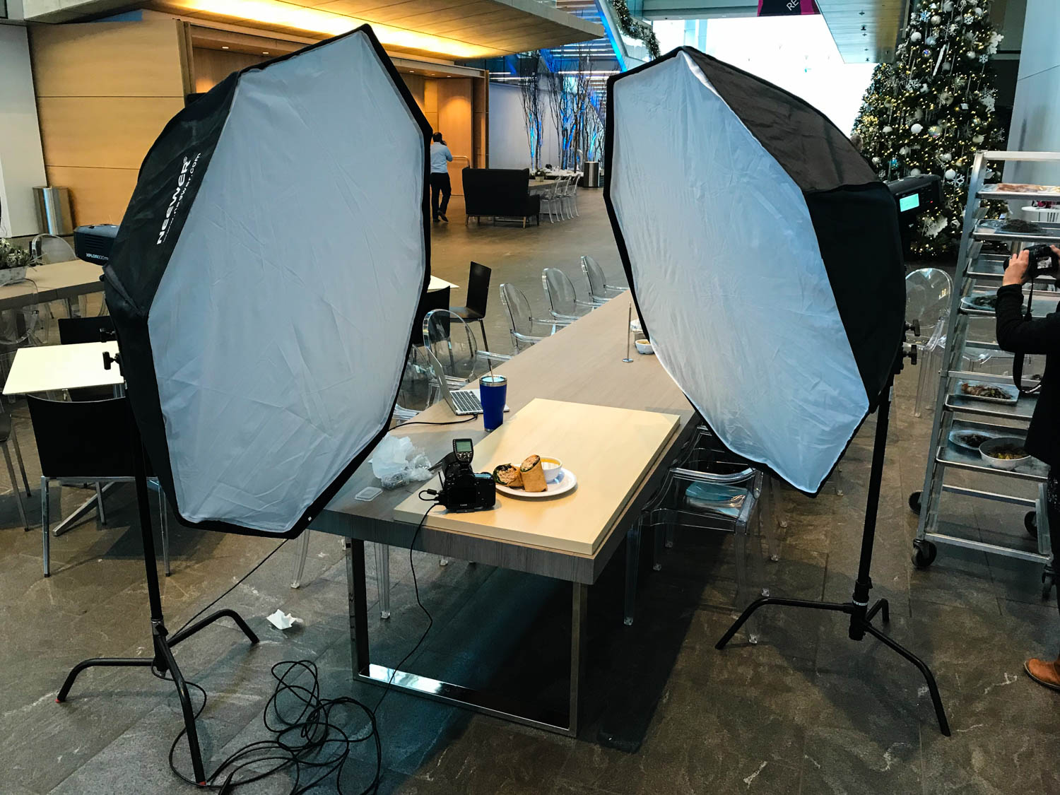 Behind the scenes of the food photo shoot