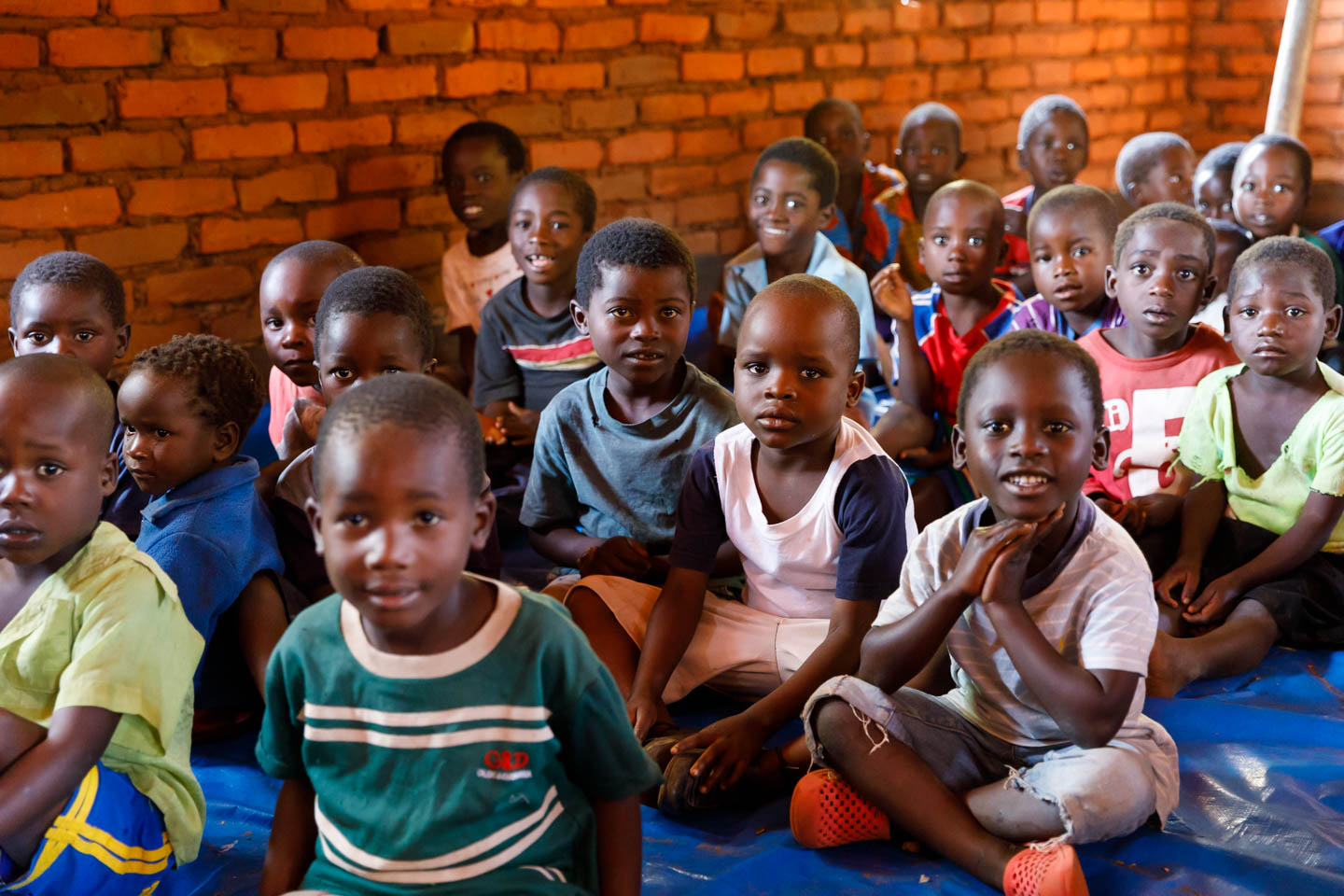 A classroom of children from the Malawian village