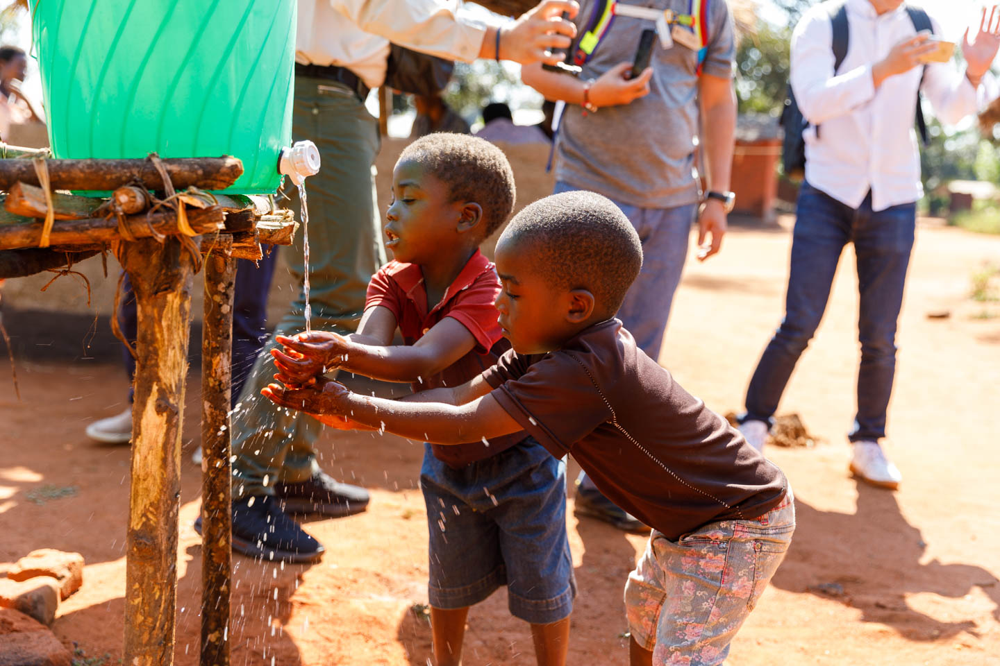 Children learn the importance of washing their hands