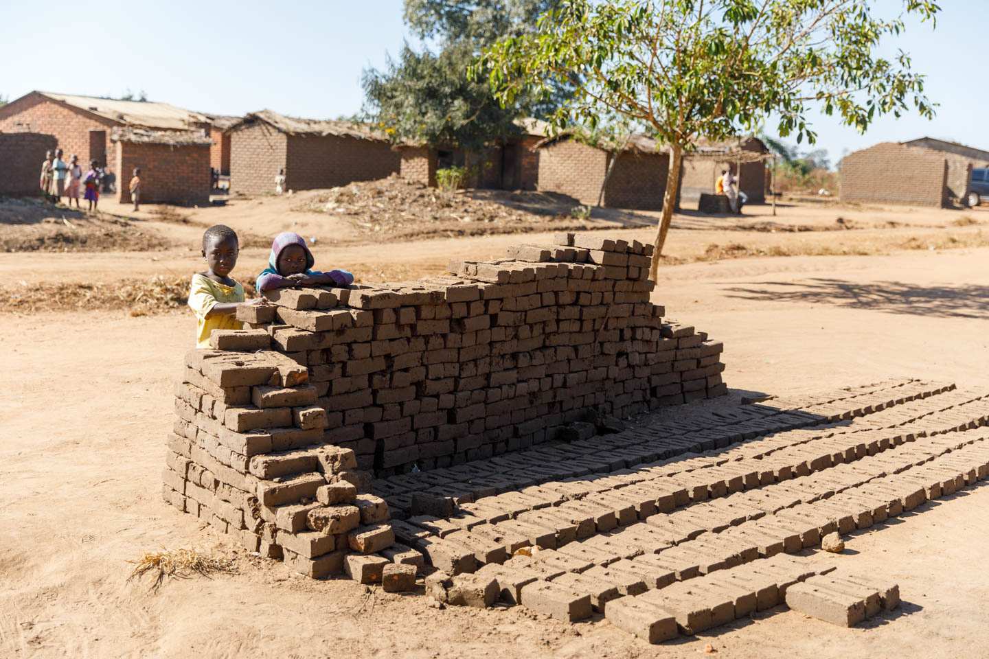 Sun baked bricks to build a home