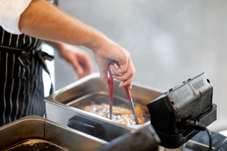 Deep frying churros