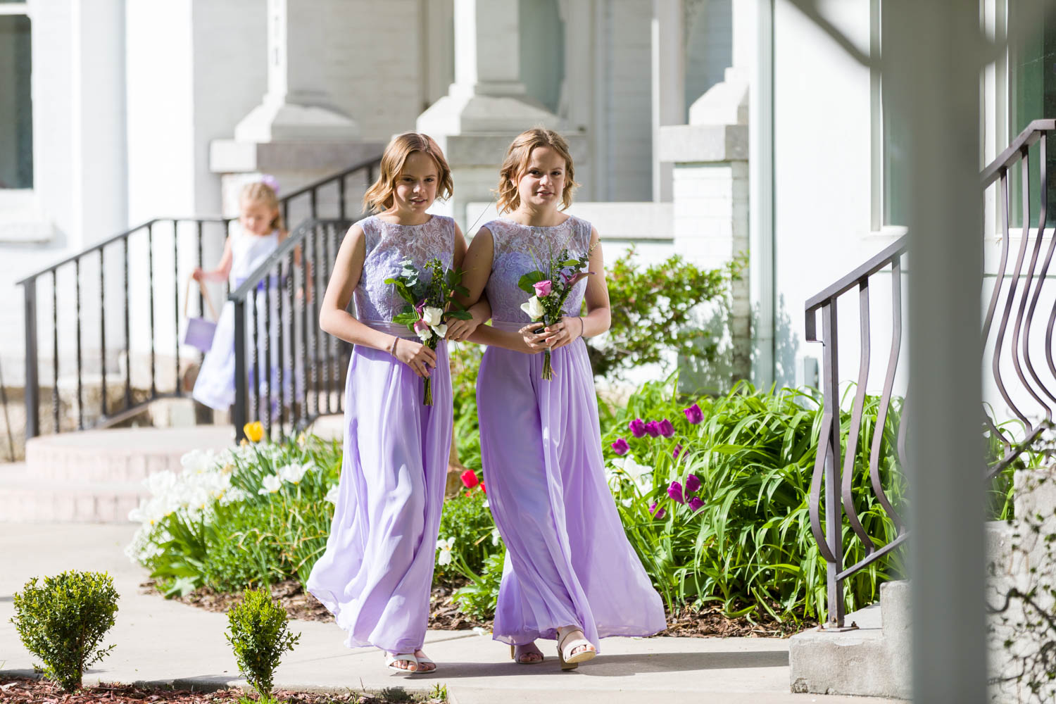 Identical twins as bridesmaids