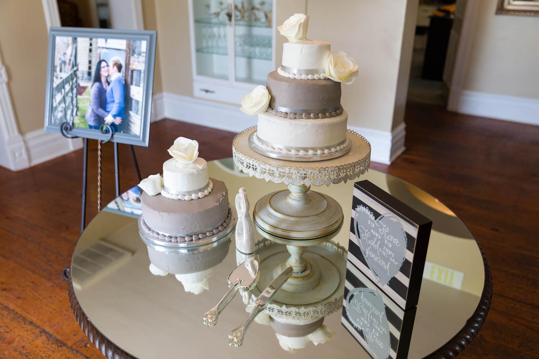 Wedding cake on mirror